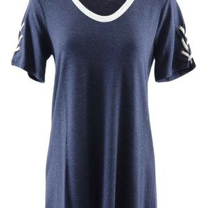 Michael Stars Indigo Lace-up Sleeve Dress Small NW